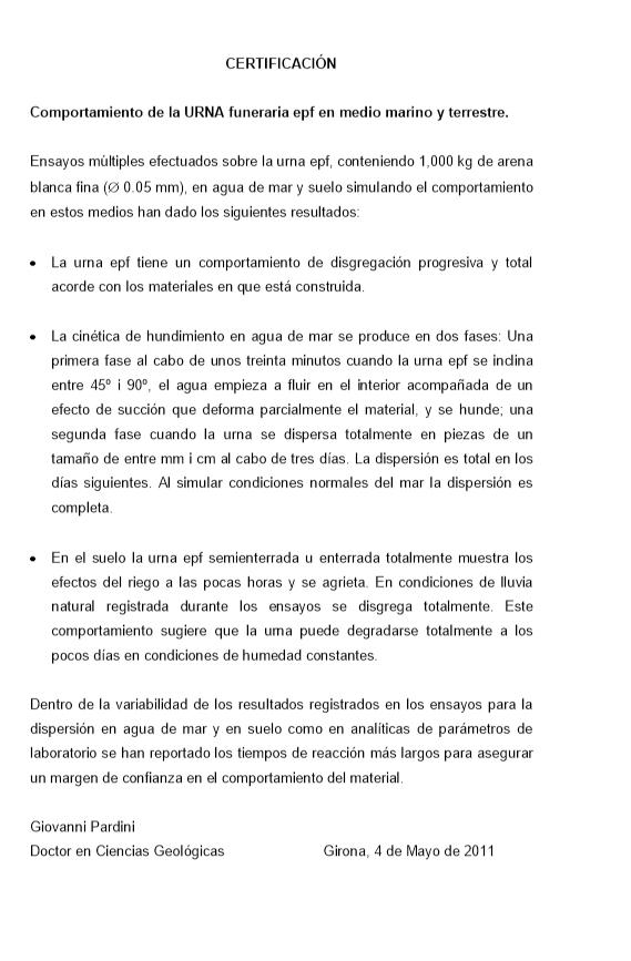 Certificado de la Universidad de Girona España
